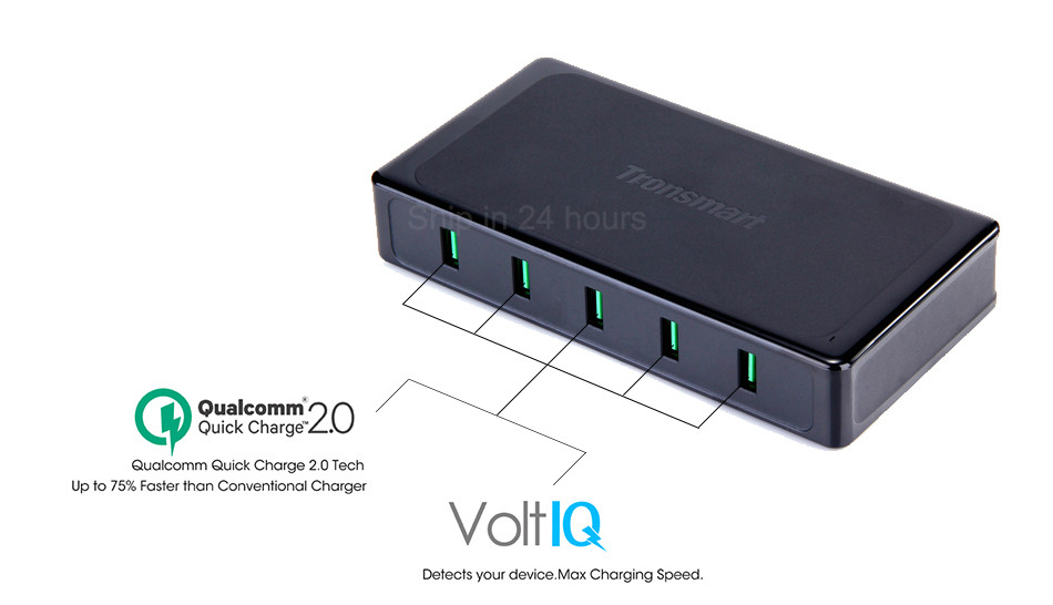 Qualcomm Certified Tronsmart Titan UC5F 5 Ports Quick Charge 2.0 USB Smart Desktop Charger QC2.0 90W Turbo Charge Fast Charging 4