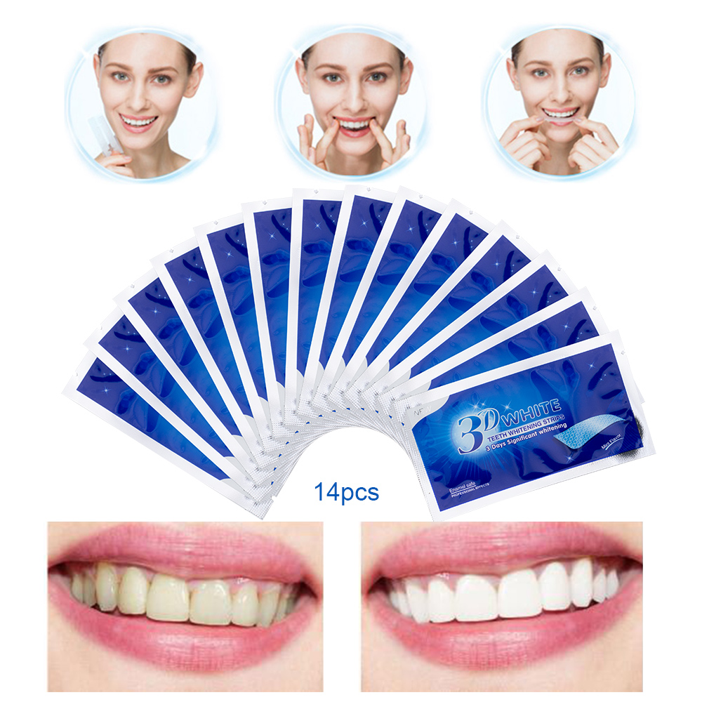 Image 2 - 28Pcs/14Pair 3D Advanced Teeth Whitening Strips Stain Removal for Oral Hygiene Clean Double Elastic Dental Bleaching Strip-in Teeth Whitening from Beauty & Health