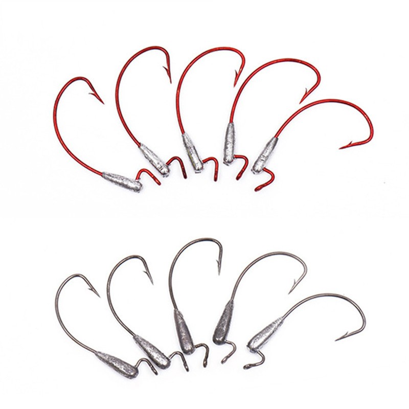 10pcs/lot Fishing Hook Lead Head Hook Crank Offset High Carbon Soft Flip Offshore Angling 2G/3.5G Fish Gear Accessories Treble