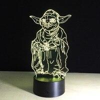 Star Wars 3D Illusion LED Nachtlampje BB8 Walker Darth vader R2D2 Millennium Falcon Batman Joker Gezicht X Wing Fighter Master Yoda