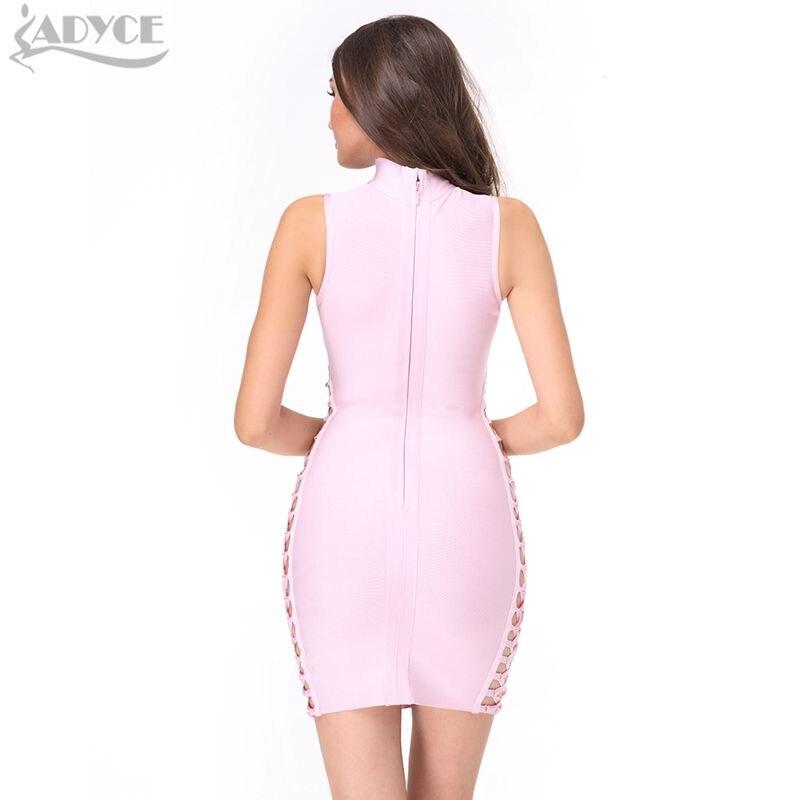 Adyce 2019 nieuwe zomer vrouwen runway bandage jurk roze zwart groen - Dameskleding - Foto 4