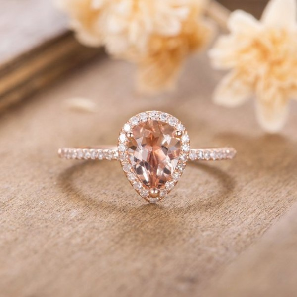 HUITAN Luxe peer hoofd trouwring vorm enorme Crap gesp CZ instellingen Rose goud kleur mode verlovingsring