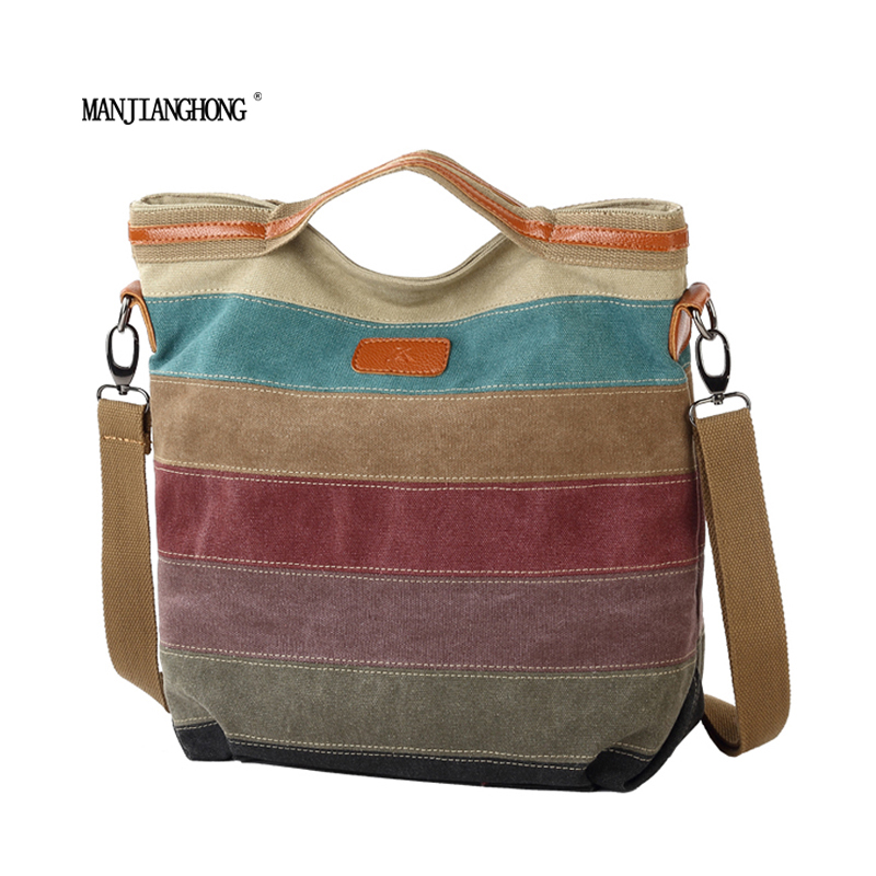 Fashion Design Women Canvas Striped Crossbody Bags Vintage Contrast Color Canvas Tote Handbags 2017 New Free Ship недорого