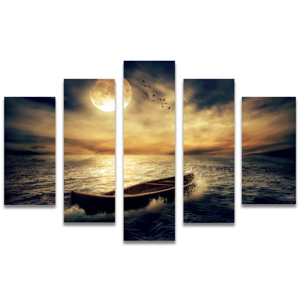 Unframed Canvas Painting Sea Level Boat Full Moon Photo Picture Prints Wall Picture For Living Room Wall Art Decoration