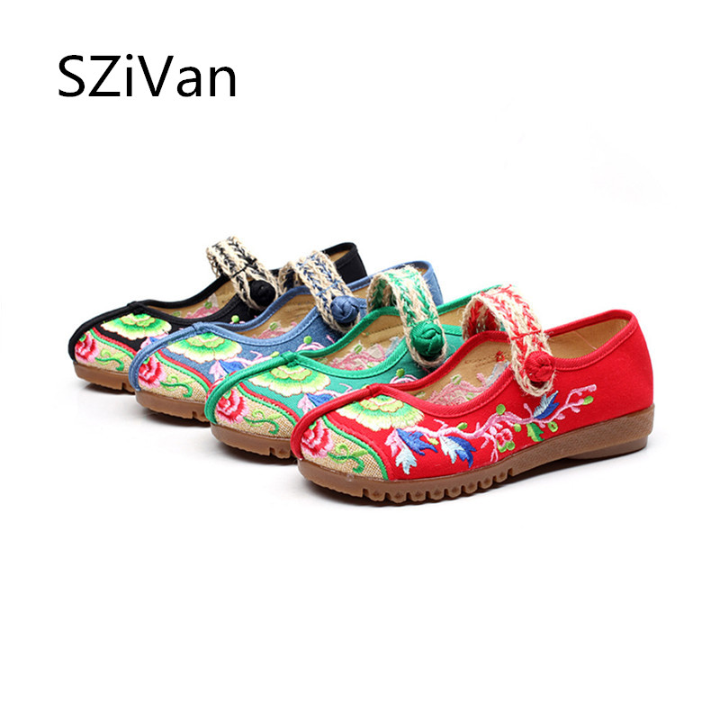 Feminino Mocassins Vintage Appartements Zapatos Floral vert Sapato Chinois Noir rouge Doux bleu Femme Broderie Mujer Femmes Chaussure Style Chaussures Semelle Rq0ZP5Rnw