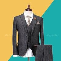 Высокое качество мужские шерстяные костюмы Мужской 3 шт. костюм с жилетом и брюки для свадебного платья мужские серые винтажные костюмы плю