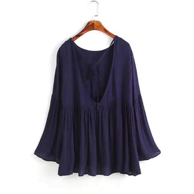 Summer 2019 Women elegant solid flare sleeve shirt V-neck blouse full sleeve summer casual tops Plus Size S-5XL 6XL linen tops