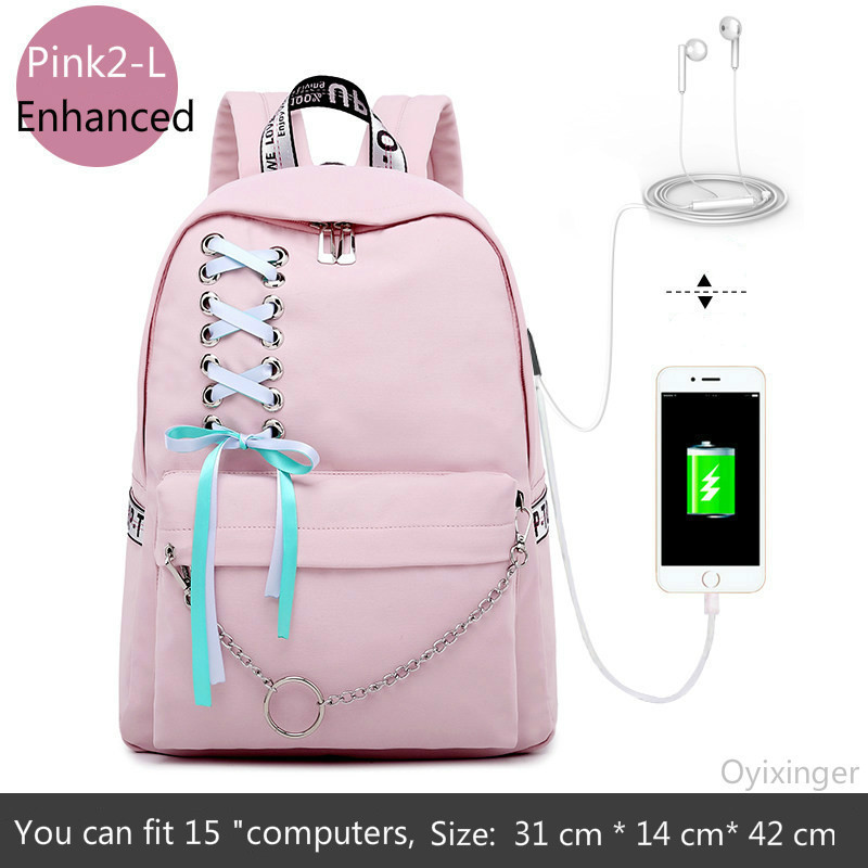 Image 3 - Fashion Girl Schoolbag Female Students Laptop Backpack Kids School Bags For Teenage Girls Women Gray Backpacks Mochila Escolar-in School Bags from Luggage & Bags