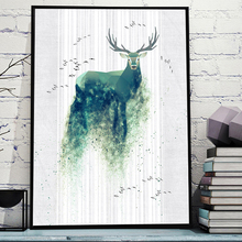 Watercolor Geometric Green Deer Bird Nordic Posters And Prints Wall Art Canvas Painting Pictures For Living Room Home Decor