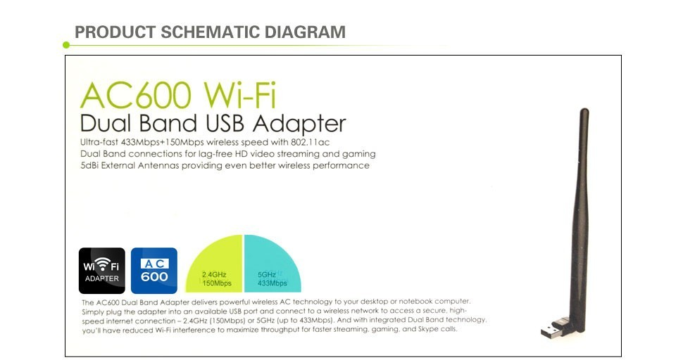 Ultra fast USB 433Mbps 5Ghz Wireless AC600 Dual Band 802.11ac Wifi Adapter Wi-fi Network Lan Card,Dropshipping Free Shipping