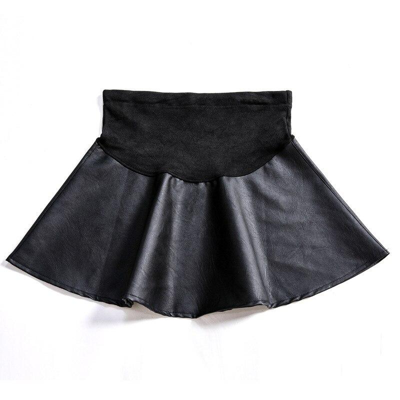 Осенне-зимние юбки для беременных, сексуальная юбка из искусственной кожи с высокой талией для беременных женщин, мини трапециевидные платья для беременных C0102 - Цвет: black