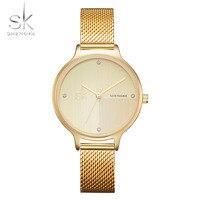 Shengke Luxury Women Watch Gold Fashion Design Bracelet Watches Ladies Top Brand Quartz Watch Relogio Feminino