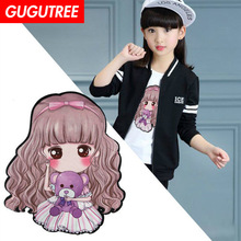 GUGUTREE embroidery big belle patches girls patches badges applique patches for clothing XC-104 embroidery sequined belle patches for jackets glasses girls badges applique patches for clothing a640