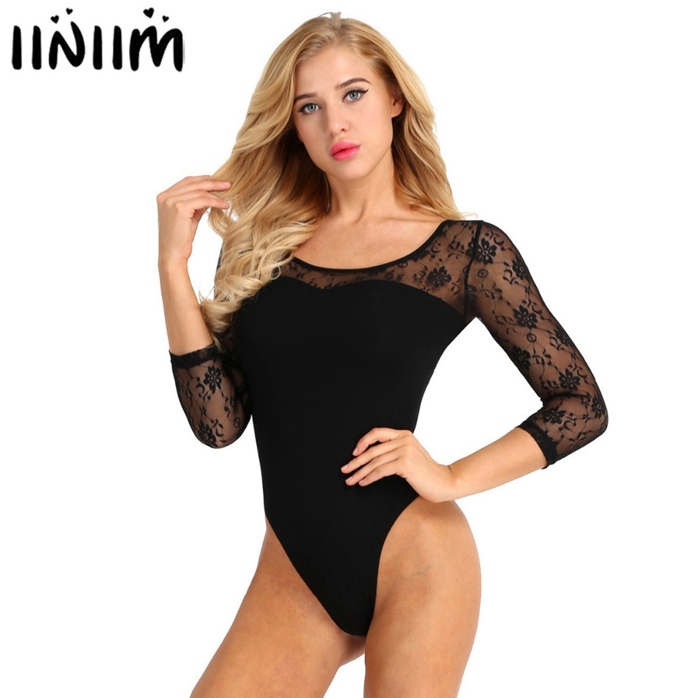 Womens Adult Lace 3/4 Sleeve Stretch Camisole Gymnastics Ballet Dance Leotard Bodysuit Costumes turnpakjes meisjes Performance