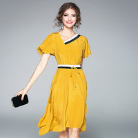Yellow Elegant Dresses Fashion Short Butterfly Sleeve 2017 Early Autumn V Neck Brief Lacing Slim Silk