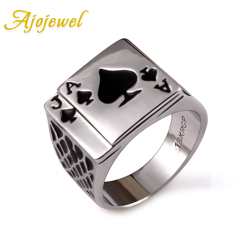 Ajojewel Classic Cool Mens Jewelry Chunky Black Enamel Spades Poker Ring Men Gold-color