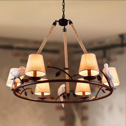 American Country Retro Hemp Rope Pendant Light Bird Lamps Vintage E27 Edison Bulb Hemp Cord Hanging Lights For Cafe Bar Foyer american country vintage loft iron hemp rope pendant light dining room edison bulb pendant lamps restaurant cafe bar drop lights