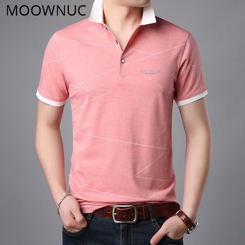 Polo   Shirts Classic style Summer Solid color Lapel Short Sleeve Slim Cotton MOOWNUC Fashion Casual Men MWC Non-Ironing