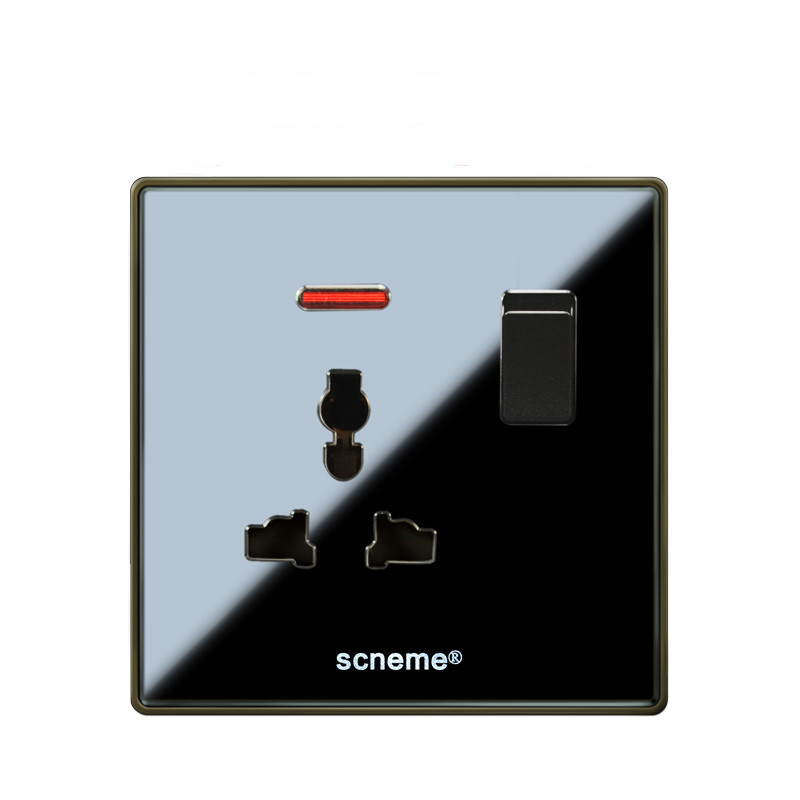1 Gang Push Button Switch &3 Pins Multifunction 10A Socket , Black Acrylic Panel outlet