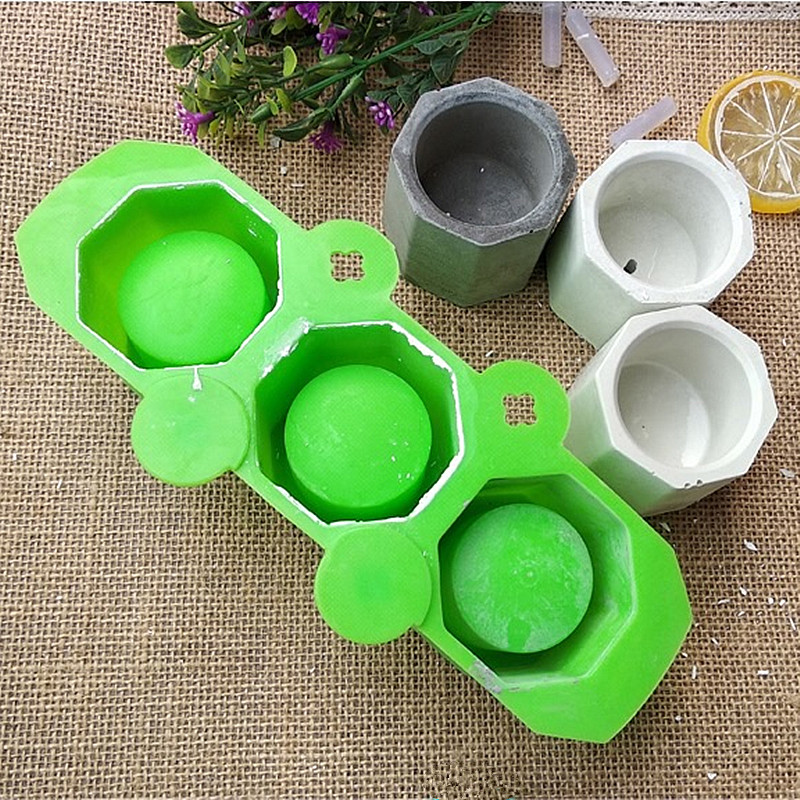 3 Holes Round Geometric Polygonal Concrete Flower Pot Vase Mold Cactus Cement Molds Silicone DIY Aromatherapy Candle Decoration