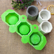 3 Holes Round Geometric Polygonal Concrete Flower Pot Vase Mold Cactus