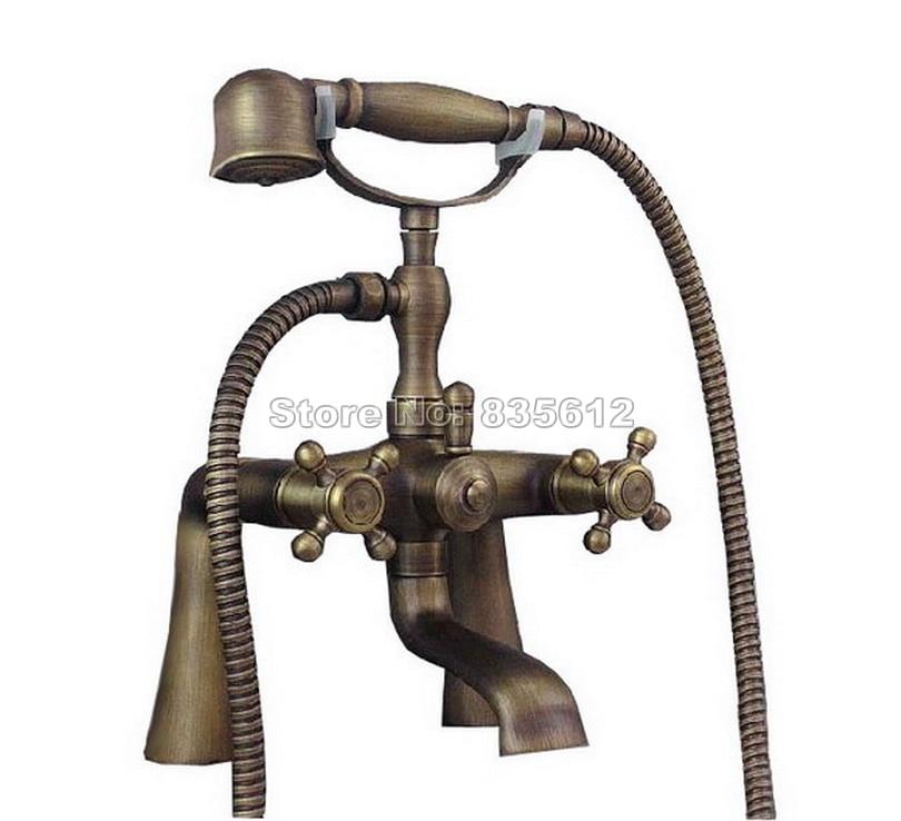 Antique Brass Dual Cross Handles Bath Tub Mixer Tap with Telephone Style Bathroom Handheld Shower Head Faucet Wtf023 antique brass swivel spout dual cross handles kitchen