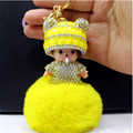 2017 Fur Ball Monchichi Keychain Bow Fashion Monchichi Sleutelhanger Key Chain Christmas Day Gift Handbag Accessories