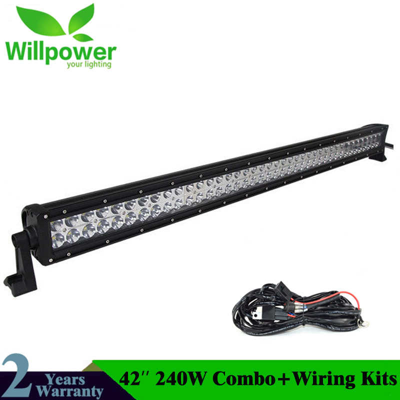 straight led work light bar driving light 10-30V 42 inch 240w 4x4 car driving lights led bar offroad led work light bar 12v free dhl ups fedex ship 13 5 72w 2700lm 10 30v 6500k led working bar curved option wire of harness led bar light
