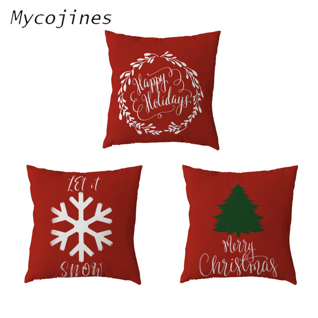 Simple Christmas Series Cushion Cover Polyester Peach Christmas Tree Letter Snowflake Pillow Farmhouse Home Sofa Chair Decorate