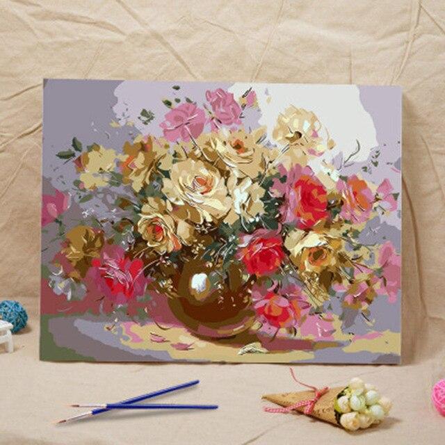 40*50 аватар quadros декор для дома wall art Цветочная композиция DIY цифровая живопись маслом на холсте живопись by numbers Top1