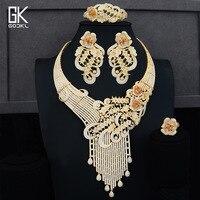 GODKI Luxury Tassels Drop Peacock Nigerian Jewelry set For Women Wedding Cubic Zircon Crystal CZ African Dubai Gold Jewelry Set