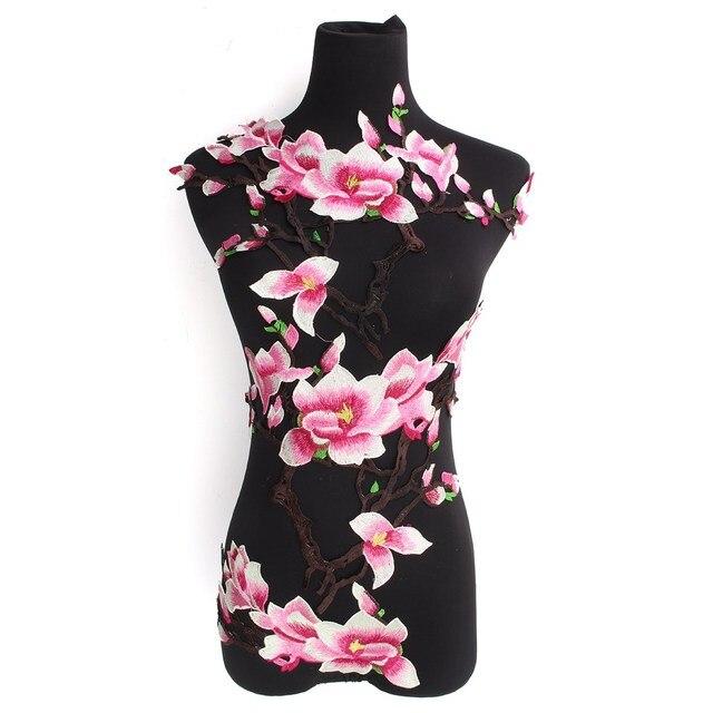 3pcs/set 3D Pink Magnolia Flower Floral Embroidery Patch Iron on Sticker For DIY Clothes Dress Jacket applique Wholesale
