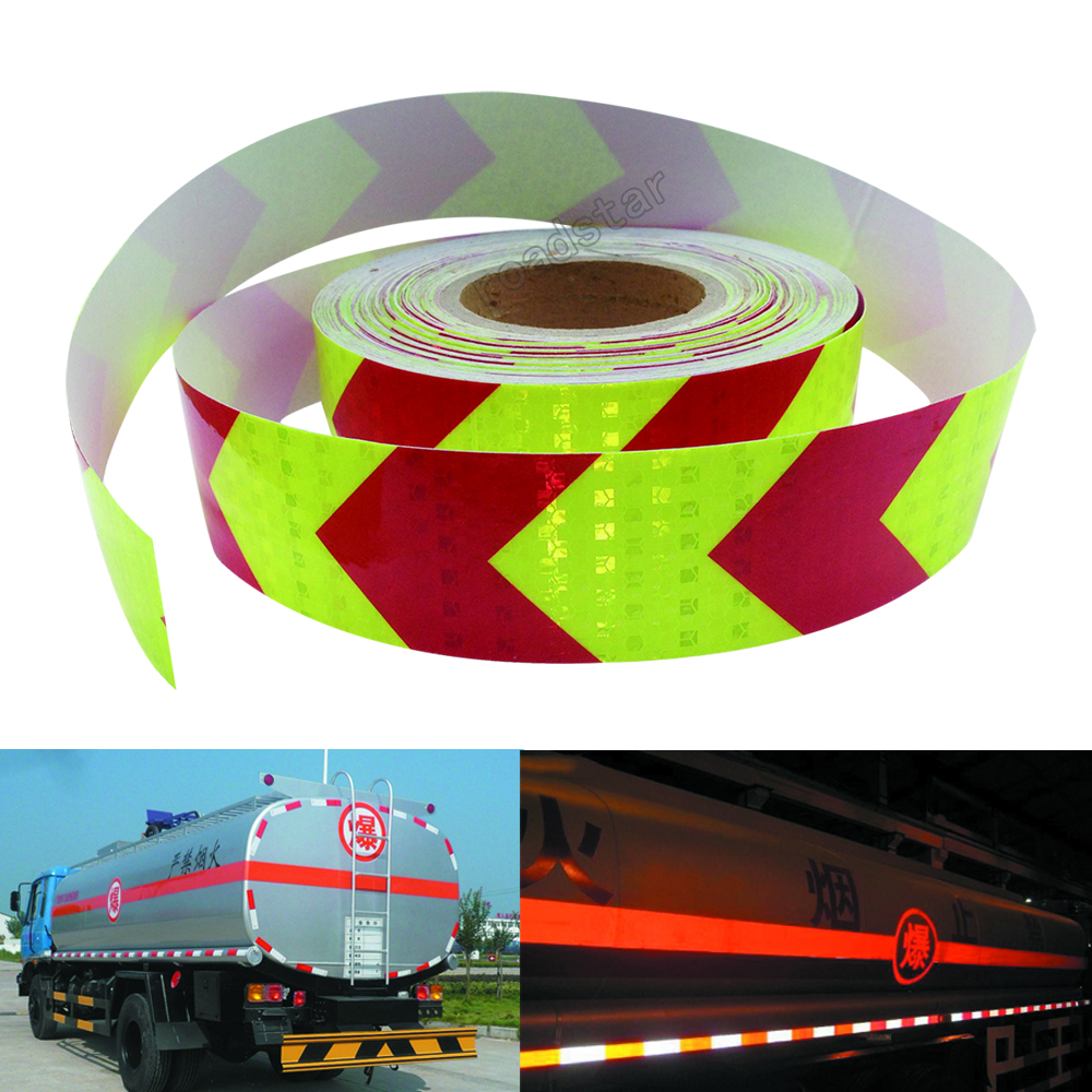5cmx25m PET Arrow Safety Reflective Warning Tape Film Waterproof Sticker for Car Truck fluorescent yellow and red