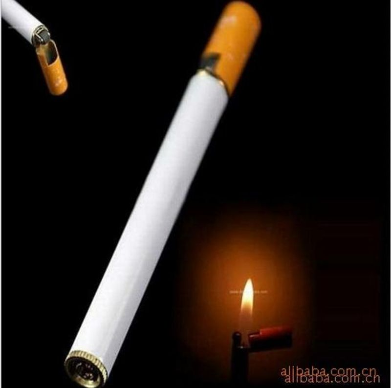 (No Gas )1pc Refillable Butane Gas Jet Flame Lighter Cigarette Shaped Windproof Men Gift