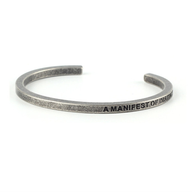 New Arrival Engraved Letter Stainless Steel Bracelet Men Cuff Bracelets Anium Jewelry Bangle Whole
