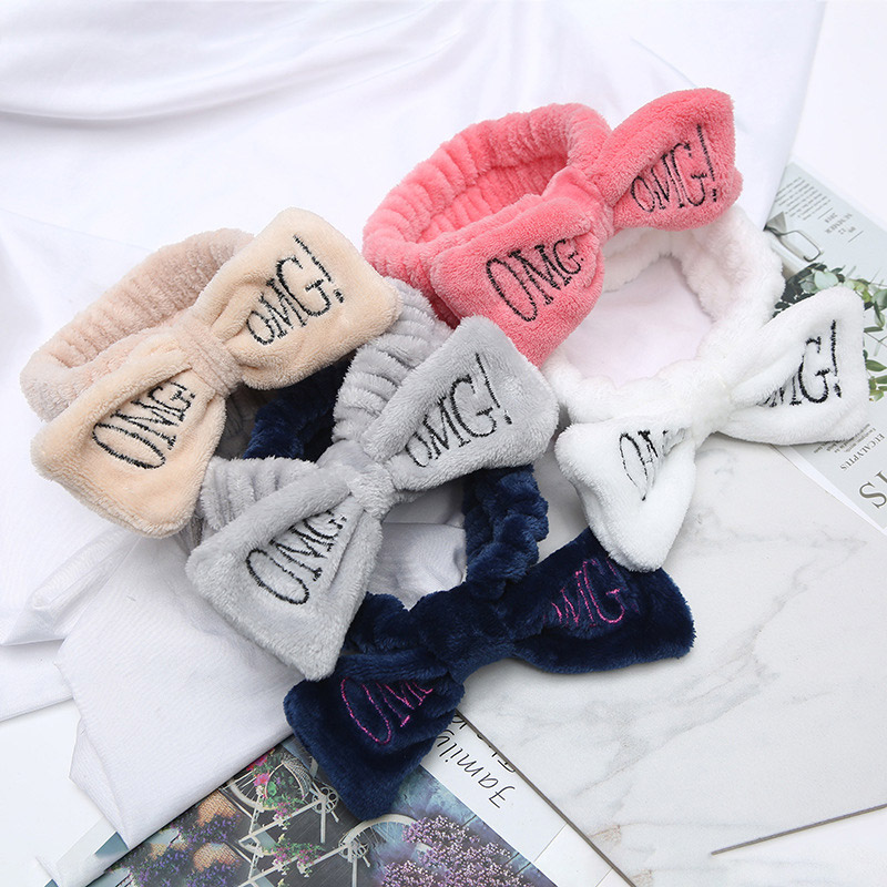 2019 New Colorful OMG Letters Bow Coral Fleece Headbands For Women Wash Face Headbands Hair Bands   Headwear   Girl Hair Accessories