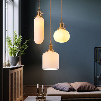 copper holder cord pendant lights with white ceramic lampshade pendant lamps fashion and creative art design pendant lighting