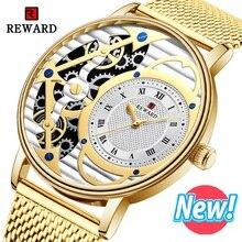 REWARD Roman Watch Men Fashion Sport Mens Watches Brand Luxury Gold Quartz Casual Steel Waterproof Clock 2019
