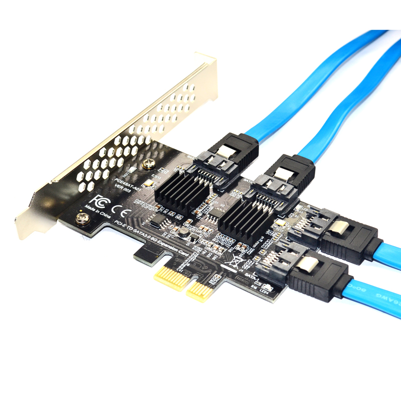 4 Port SATA 3.0 To PCIe Expansion Card PCI Express PCI E SATA Adapter PCI-e SATA 3 Converter With Heat Sink For PC IPFS SSD HDD