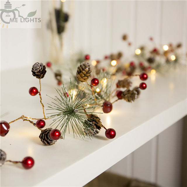 red berry christmas garland lights led copper fairy lights pinecone string holiday lights for xmas tree