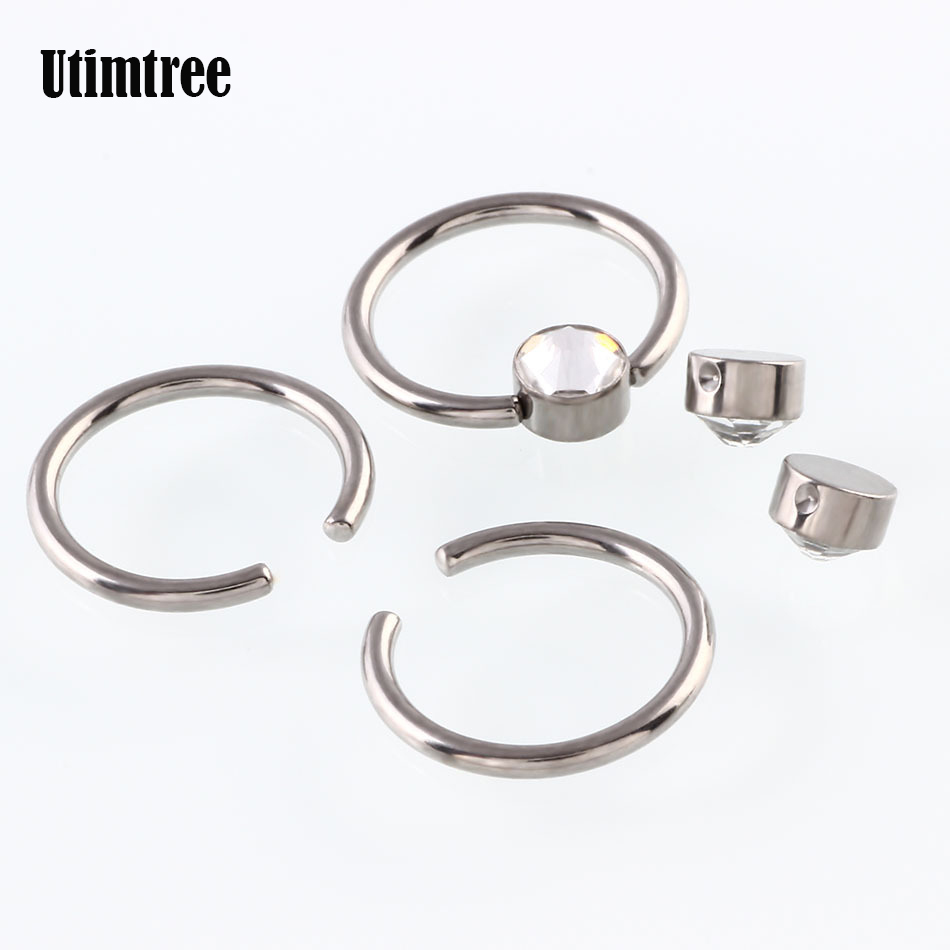 Faithful Utimtree Cubic Zircon G23 Titanium Captive Hoop Rings Eyebrow Tragus Ear Piercing Nose Closure Nipple Bar Lips Body Jewelry Jewelry & Accessories Jewelry Sets & More