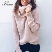 2019 Xnxee autumn and winter new sweater female explosion models solid color long-sleeved high-neck pullover