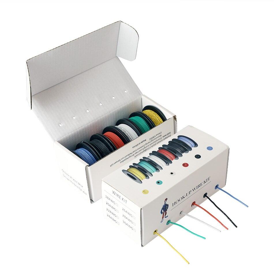 42 m/caja de alambre trenzado electrónico 24 AWG UL3132 Flexible de silicona cable eléctrico de goma aislado de cobre estañado 300V 6 colores
