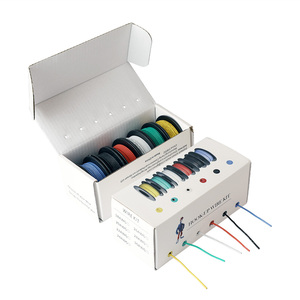 Image 1 - 60 м/коробка, 19 футов, многожильный провод 24 AWG UL3132, гибкая силиконовая электронная проволока, изолированная Луженая медь, 300 В, 6 цветов