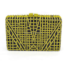 Crystal Clutches Evening Bags Box Shape Women Clutches Bag Yellow Purse Night Ladies Luxury Diamond Bags