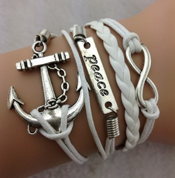 1pcs infinity bracelet, antique silver  and infinite hope bracelet, brown weave and white 485