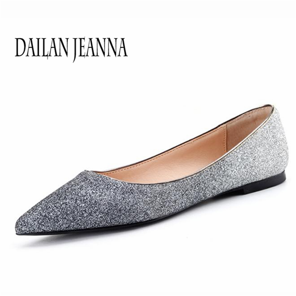 2018  autumn pointed flat shoes women shallow gradient sequin cloth comfortable joker casual shoes work shoes shoes 2018 autumn