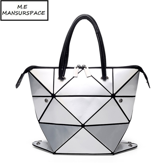 Mansure Women Bao Bag Geometry Sequins Mirror Saser Plain Folding Bags Changeable Handbag Casual Tote Bucket
