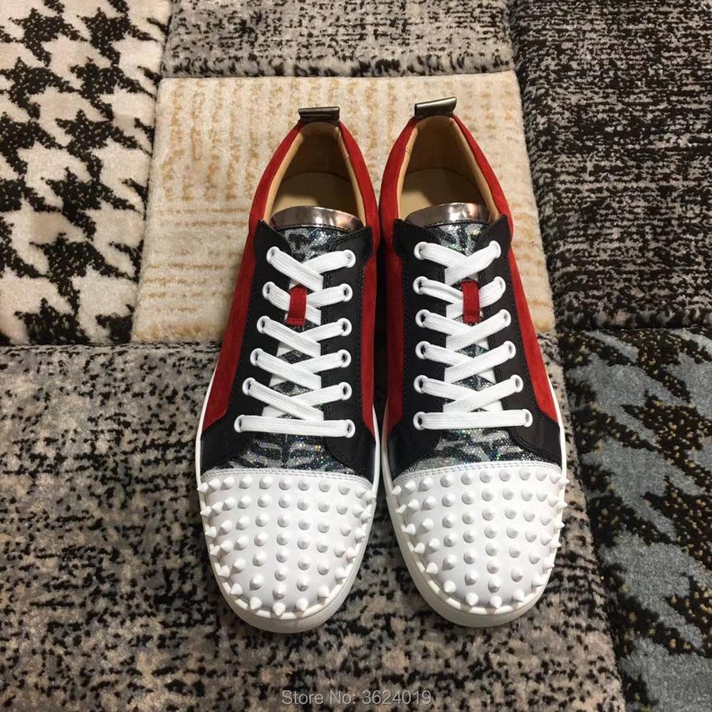 Plat bas Sneakers En Rivet Clandgz up Blanc 2018 Mocassins Rouge Casual Cuir Avant Coupe Bas Chaussures Dentelle Hommes rhsdBtQxC