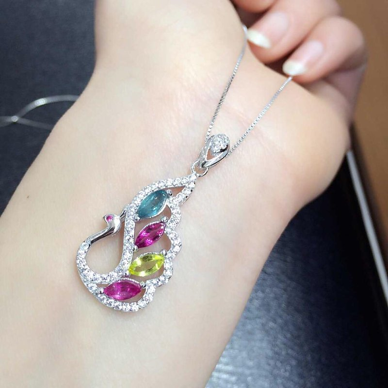 2017 Collier Qi Xuan_Tourmaline Pierre Paon Pendentif Necklaces_Real Necklaces_Quality Guaranteed_Manufacturer Vente Directement